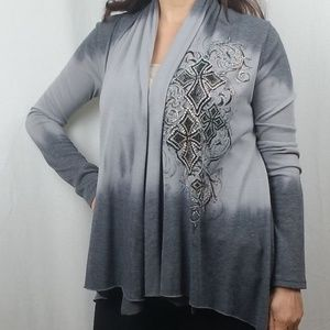 VOCAL EMBELLISHED OPEN FRONT CARDIGAN SIZE SMALL